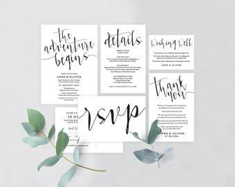 Rustic wedding invitation set, Wedding invitation template rustic, Printable wedding invitation suite, Editable wedding invitation