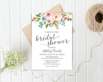 Watercolor Bridal Shower invitation, Bridal shower invitation, Rustic bridal shower invitation, Floral Bridal Shower - US_BI1203