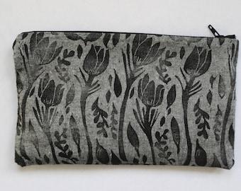 Prairie Crocus Block Printed Zip Pouch // Grey Chambray