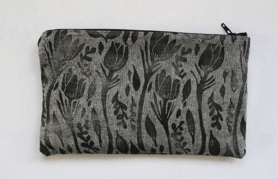 Prairie Crocus Block Printed Zip Pouch // Grey Chambray
