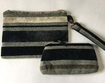 Striped Velvet Clutch Bag/ STriped Velvet Wristlet / Velvet Zip Pouch / Velvet Organiser