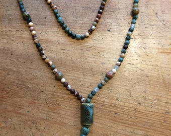 Mala Beads in Deep Greens and Browns