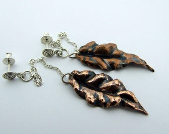 Elven Leaf Drop Earrings with Chains and Studs