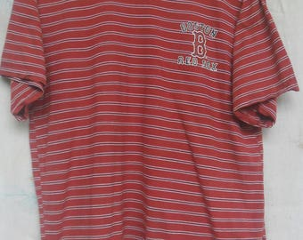 Vintage Boston Red Sox Striped T Shirt//Major League Baseball//Made in Japan