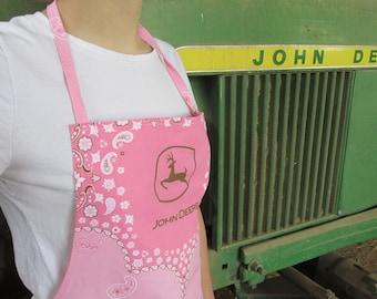 Pink John Deere Apron for Ladies and Girls-farm apron, tractor apron, farm girl apron, sassy apron, farm wife, farm girl, pink tractor apron