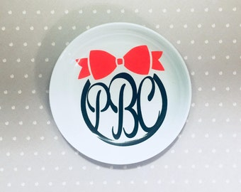 Ring Dish Personalized with Monogram- White Plastic Ring and Jewelry Dish with Bow Monogram