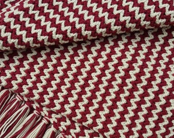 Crochet Waves Afghan - Burgundy/Ivory with Fringe, Maroon and Off-White/Cream Blanket, Valentine Afghan