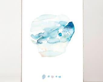 Minimalist, Abstract, Modern, Zen Art Wall Décor, Watercolor, Blue Modern Wall Art, Large Abstract Decor, Art Print, Blue, Simple, White
