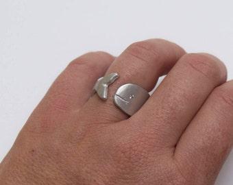 Ring made of pure aluminium, Matt surface with white cubic zirconia