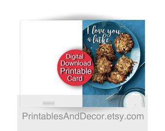 Printable Funny Chanukah Card, I love you a latke, 5x7 Folded Digital Card