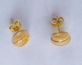 Beige and Tan Glass Stud Earrings