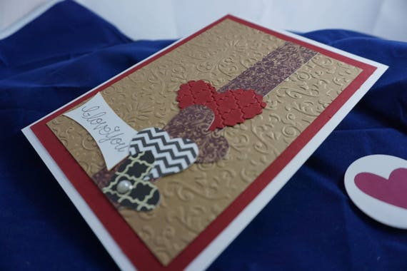Embossed Stacked hearts love card