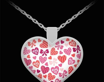 """I LOVE YOU Heart Shaped Necklace Hearts Bows Pinks Reds Valentine's Day Jewelry Pendant! Wear it proudly on 22"""" silver plated necklace!"""