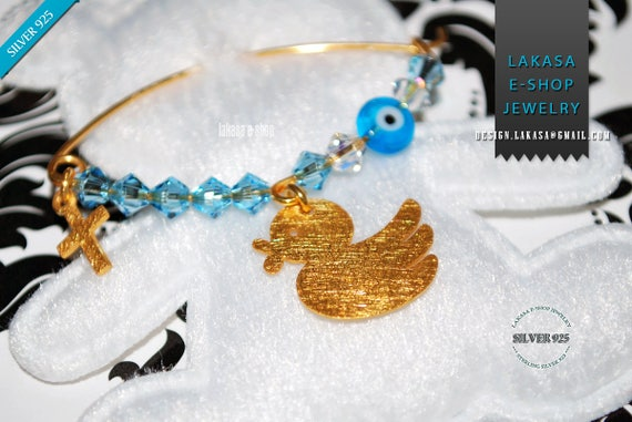 Happy Duck Baby Boy Brooch Sterling Silver Gold plated Cross Swarovski Crystals Jewelry Best idea Gift Baptism Christening Birthday Mother