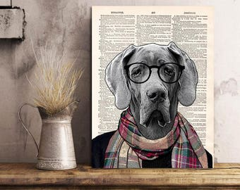 Great Dane blue Dog Art Print, Great Dane Print Cool Dog Art, Dog Wall Decor Art, Dog Artwork Print on Dictionary Page, Gift idea