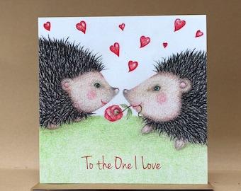 To the One I Love Hedgehog Card