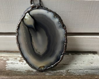 Large Agate Slice Necklace | Electroformed Agate Stone | Raw Agate Pendant | Statement Agate Necklace