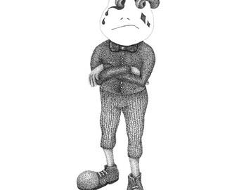 Print   Olav in black and white pointillism illustration (stippling, dot artwork)