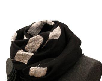 Black scarf, Merino wool scarf, White silk scarf, Silk scarf, Womens scarf,Nuno felt scarf, Felted scarf, Unique handmade scarf, Wrap, Shawl