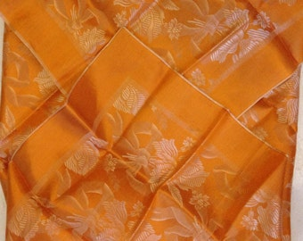"FREE SHIPPING! Vintage 1940""s- Orange patterned scarf."