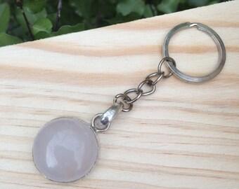 Rose Quartz Keychain / Rose Quartz Keyring / Rose Quartz Bag Charm / Pink Gemstone Keychain / Gemstone Keyring / Pink Crystal Keychain