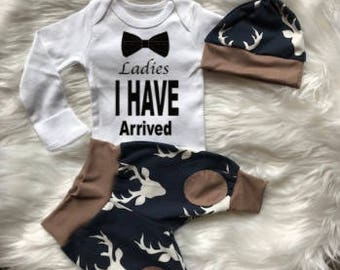 BABY BOY Coming Home Outfit, newborn boy coming home outfit, newborn boy,Ladies I have Arrived, woodland