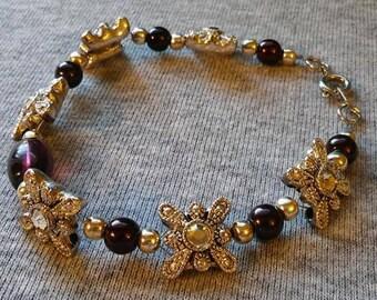 Glitzy silver and burgundy beaded bracelet
