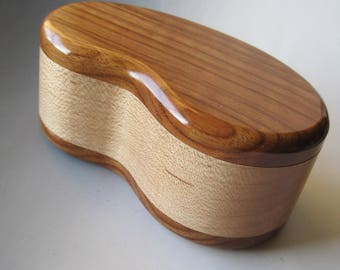 Handcrafted Wood Kidney Shaped Box