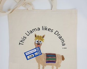"Tote bag "" LLama drama"", cotton bag, shopping bag, shoulder bag , reusable bag,  hand painted bag, canvas bag"