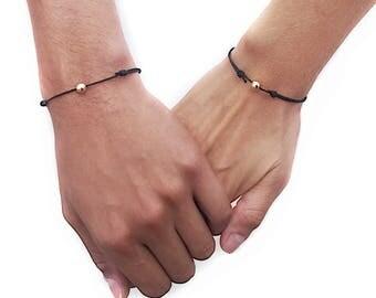 Matching Bracelets Couples Bracelet Set Boyfriend Girlfriend Bracelets Mens Gift Cord Bracelet Set Men Sterling Silver Jewelry Gift for him