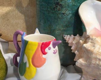 Cute Handmade Unicorn Shaped Ceramic Mug (The Trina)