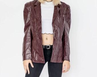 80s Dark Brown Bowie Leather Blazer