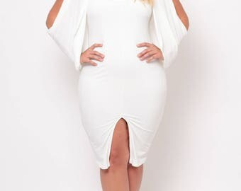 Plus Size Cold Shoulder Grecian Dress - Ivory - Sizes 0X - 4X