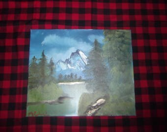 Mountain Summit Bob Ross Style Oil Painting