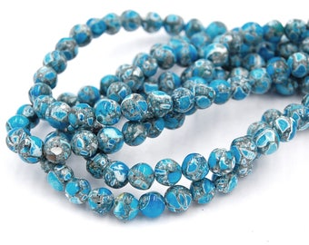 """15.5"""" strands Mosaic Turquoise Beads 6mm"""