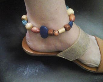 Tribal Beaded Anklet, Wooden and Semi-Precious Stone Anklet, Women's Tribal Anklet, Women's Fashion Anklet, Beaded Anklet