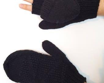 Black hybrid mittens for men / women