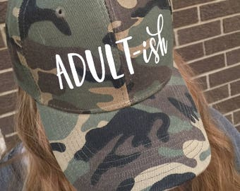 Adult-ish Custom Hat-Camouflage with White Text-NEW!