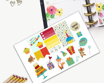 Birthday Theme One Day Small Planner Sticker Set, All Happy Planner Stickers, Stickers, Printed, Cut, Functional Sticker, Holiday, Colorful