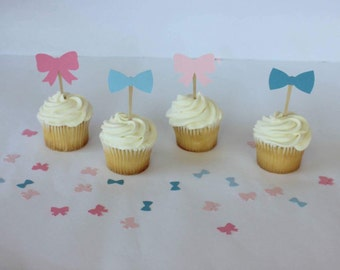 Gender Reveal Decorations - Pink and Blue Gender Reveal - Pink and Blue Cupcake Toppers - Cupcake Toppers Baby Shower -Gender Reveal Cupcake