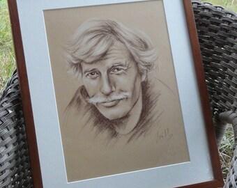 "Original Jean Ferrat Portrait framed or not / drawing 30 x 40 cm 12 x 16 ""/ french singer portrait"