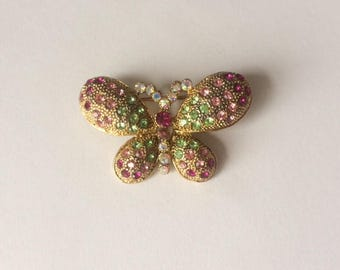 Vintage 1950's Pink Green Gold Butterfly Aurora Borealis Rhinestone Brooch