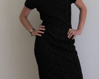 Short sleeve knee length black floral picot dress, small, 1960s Sears, cotton