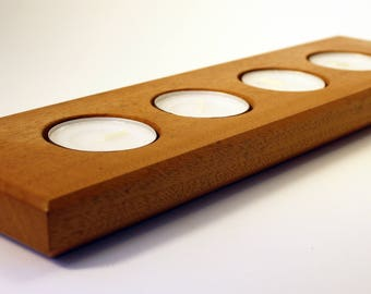 African Mahogany Candle Holder - Holds 4 Candles - Tea Candle Display - Hand-Made in USA
