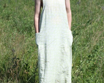 Vintage Linen Maxi Sleeveless Green Floral Sun Dress Minimalist Shift MATCH Large