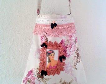Vintage shoulder bag, ceremony tote bag, ceremony pouch, shabby chic bag, floral white bag, floral tote bag, floral vintage shoulder bag