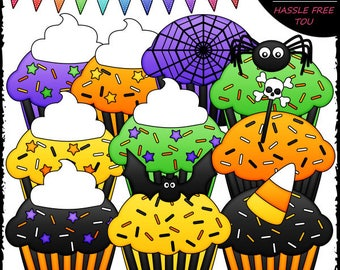 Halloween Cupcakes Clip Art and B&W Set