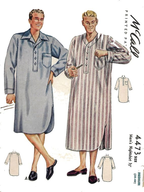 Vintage Inspired Nightgowns, Robes, Pajamas, Baby Dolls 1940s Vintage Sewing Pattern Regulation Mens Nightshirt WW2 WWII  Wartime Chest 34 Rare1940s Vintage Sewing Pattern Regulation Mens Nightshirt WW2 WWII  Wartime Chest 34 Rare  AT vintagedancer.com