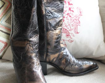 Vintage Dan Post Metallic Leather Cowboy/Cowgirl Boots Size 7.5 M