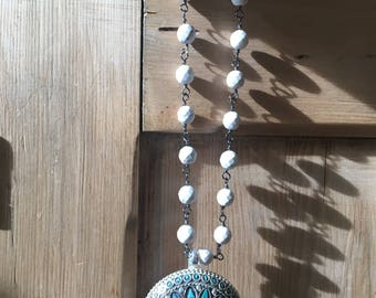White Turquoise Rosary Chain with Tibetan Turquoise Mosaic Pendant
